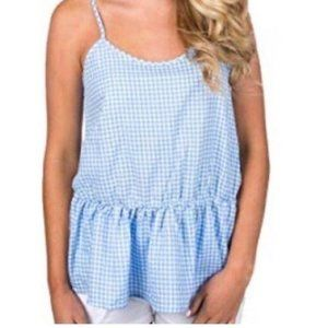 NWT Lauren James Gingham Sophie Peplum Top Sz M